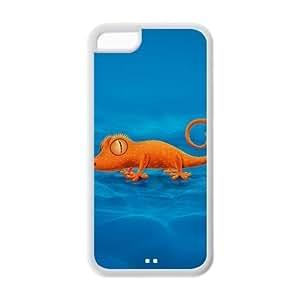 LJF phone case Custom Chameleon,Lizard Design Rubber TPU Case for iphone 5/5s