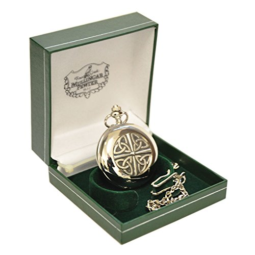 Mullingar Pewter Pocket Watch With Celtic Trinity Knot (Celtic Design Watch)