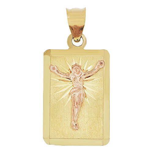 14k Yellow & Rose Gold, Christ Jesus Crucifixion Religious Pendant Rectangular Charm Sparkly Cuts (Gold Jesus Charm Christ)