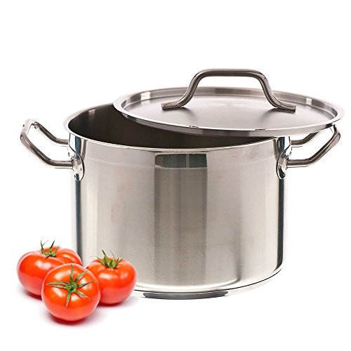 8 Quart - Heavy-Gauge Stainless Steel Stock Pot with Aluminium Clad Bottom and Lid