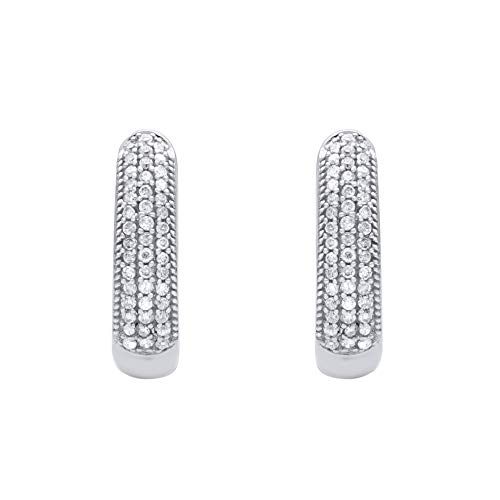 1/4 Carat Natural Diamond Earrings 10K White Gold (G-H Color, I3 Clarity) Diamond Huggie Earrings for Women Diamond Jewelry Gifts for Women ()