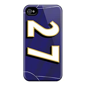 Shock Absorption Hard Phone Cover For Iphone 4/4s (EhI14296ftPL) Allow Personal Design Lifelike Baltimore Ravens Pattern
