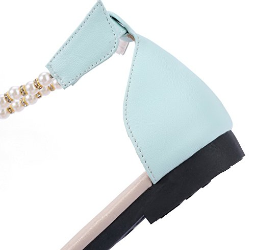 Ouverture Femme GMBLA012302 AgooLar Sandales Talon Unie Velcro Bas Azur D'orteil Couleur à 5UWFZq