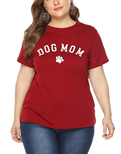 Gloria&Sarah Women's Plus Size T-Shirt Short Sleeve Dog Mom Letter Print Summer Tee Shirt Tunics,Red,XXXL ()