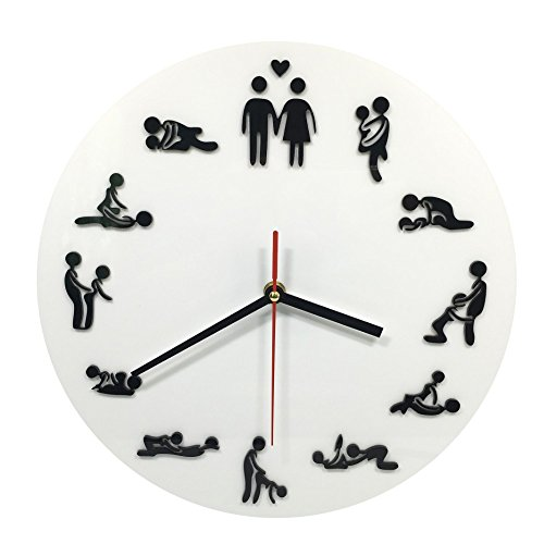 Funny Wall Clock Creative Sex Position Watches Bedroom Home Party Decoration (White) by AliceInter