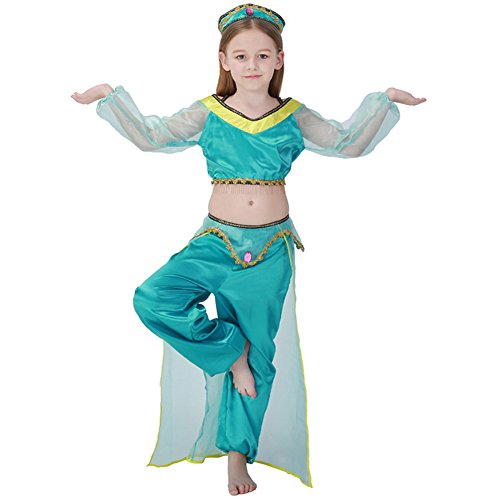 Kids Girls Halloween Costumes Cosplay Outfit Dancer (Jasmine Costume For Baby)