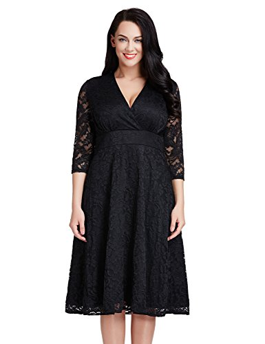 LookbookStore Women's Plus Size Black Lace Bridal Formal Skater Dress 18W