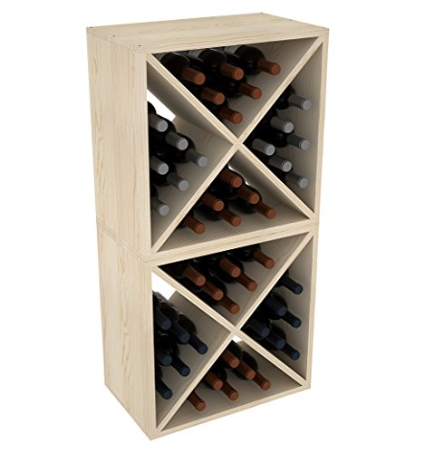 "Creekside 24 Bottle Stackable Wine Cubes (Set of 2), 12"" Deep, Pine"