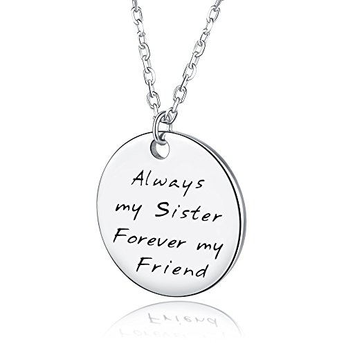 AmorAime Always My Sister Forever My Friend 925 Sterling Silver Engraved Disc Pendant Necklace Sister Love Friendship Graduation (Love Disc Pendant)