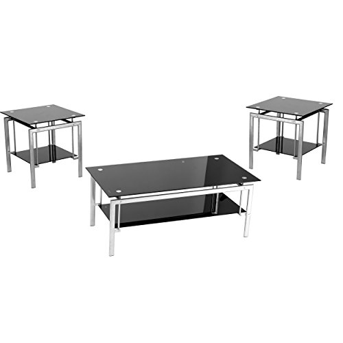 Innovex Onyx Coffee and End Table Set, Black (Coffee Table Set Sale)