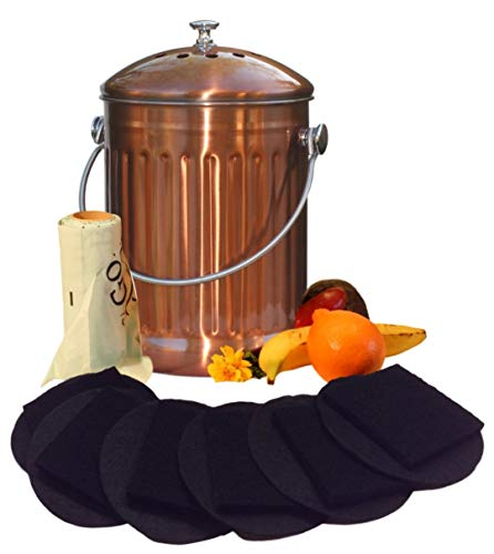 Kitchen Compost Pail Bin for Countertop - Large Capacity 1.5 Gallon Food Scrap Container, Leak proof Copper Coated Stainless Steel - Includes 1 Year of Charcoal Filters & Compost Bags by Gardenatomy (Image #8)