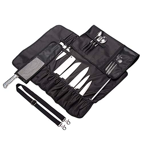 QEES Chef's Knife Roll 17 Slots Black Multi-function Portable Knife Bag with Shoulder Waterproof Oxford Cloth Tight and Washable DD14 by QEES