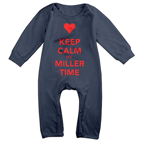 MoMo Keep Calm And It's Miller Time Toddler/Infant Romper Playsuit Outfits Navy