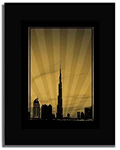Dubai Skyline Down Town - Sepia No Text F04-m (a3) - Framed
