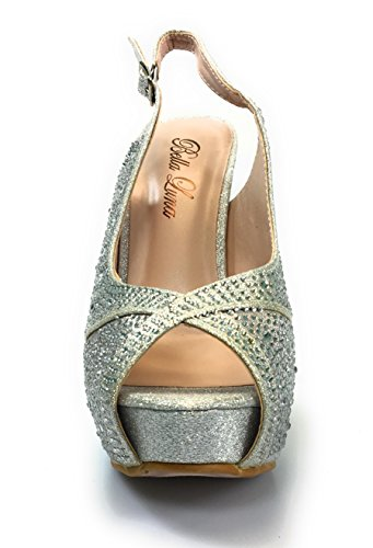 Bella Women Homecoming, Wedding, Prom and Evening Shoes Slim Heel Crystal Embellished Comfortable and Stylish CANNY-11 Silver