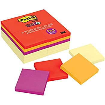 Post-it Super Sticky Notes, 3 in x 3 in, Marrakesh Collection & Canary Yellow, 24 Pads/Pack (654-24SSCYN)