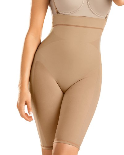 Leonisa Womens Seamless High Waist Shapewear with Thigh Compression,Beige,Large