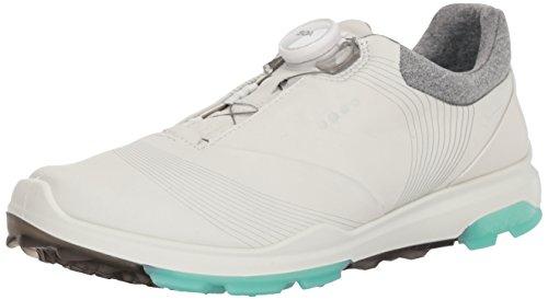 ECCO Women's Biom Hybrid 3 BOA Gore-Tex Golf Shoe, White/Emerald Yak Leather, 9 M US ()