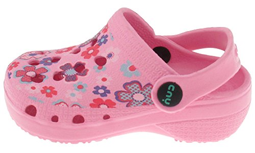 Capelli New York Toddler Girls Spring Blossoms Printed Injected Eva Clog With Backstrap Pink Combo 4/5