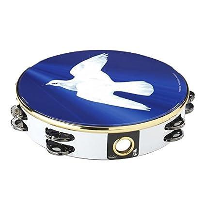 Remo Tambourine, 10 Diameter, 8 Pairs Jingles x 2 Rows, Religous Dove' Graphic Religous Dove' Graphic TA-9210-18
