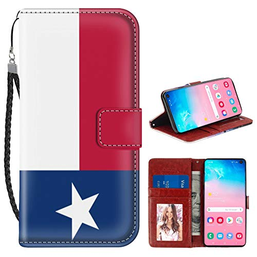 (Texas Flag Samsung Galaxy S10 Plus Wallet Case for Kickstand PU Leather Card Slot Magnetic Flip Wristlet Phone Cover Samsung Galaxy S10+ Case Texas Flag)