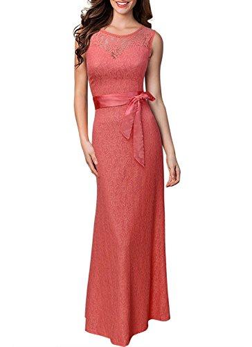 KAXIDY Encaje Vestidos Mujer Vestidos de Noche Vestidos de Cóctel Vestido Largo Vestido de Novia Rosa
