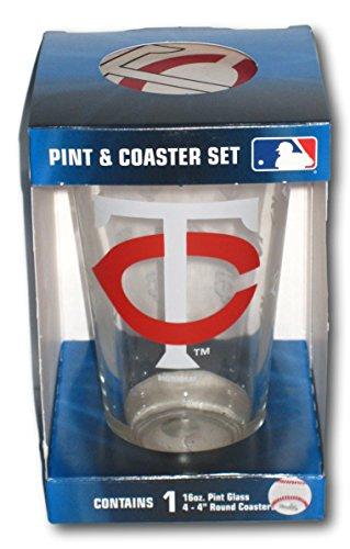 Minnesota Twins Pint Glass and Coaster Set