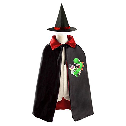 Ice Climbers Halloween Costume (Rabbid Yoshi Halloween Costumes Decoration Cosplay Witch Cloak with Hat (Black))