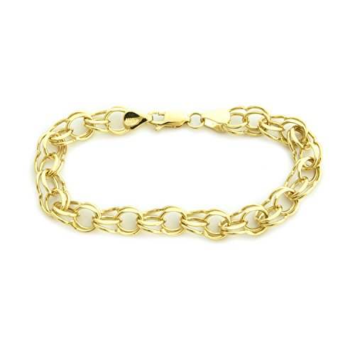 Solid-14k-Yellow-or-White-Gold-8mm-Solid-Round-Double-Link-Chain-Bracelet-7-8
