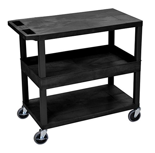 LUXOR EC212-B Cart, 2 Flat/1 Tub Shelves, 18