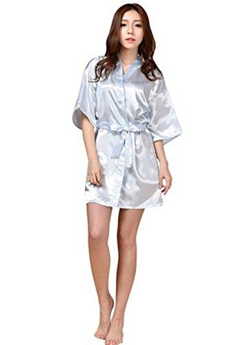 Silk Satin Short Night Robe Solid Kimono Robe Fashion Bath Robe Sexy Bathrobe Peignoir Femme Wedding Bride