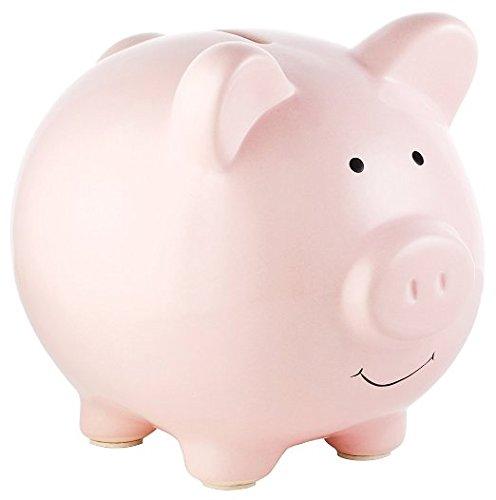 Small Cute Pink Piggy Bank,Geelyda Ceramic Piggy Bank,A New Gift Piggy Bank for Kids. (Pink Pig Bank)