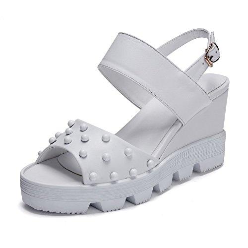 Allhqfashion Kvinners Peep Toe Høye Hæler Solide Ku Skinn Sandaler Med Juveler Hvite