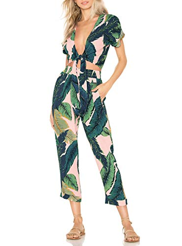 (AEL Womens Sexy Tie Crop Top 2 Piece Outfits Pants Set Summer Short Sleeve Jumpsuits Casual)