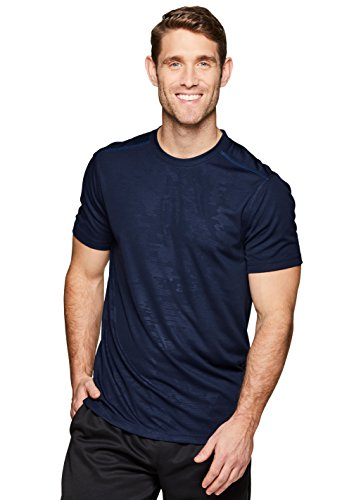 RBX Active Men's Camo Workout Gym Athletic Short Sleeve T-Shirt Navy S
