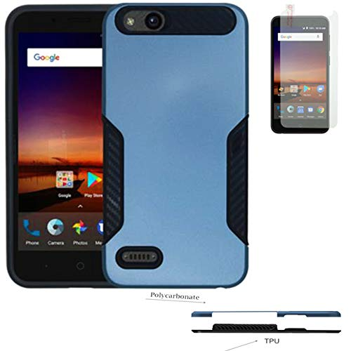 Phone Case for ZTE Zfive-C, ZTE Zfive-G, ZTE Blade-Vantage (Verizon), ZTE  Avid-557, ZTE Tempo-X, ZTE Avid-4 Tempered Glass with Hybrid Dual Layered