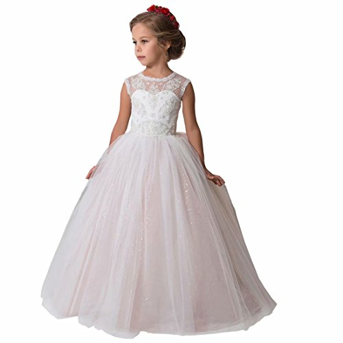 Niya Girl Dress First Communion Dress Beaded Pageant Flower Girl Dress for Wedding Floor Length Princess Ball Gown 8 White