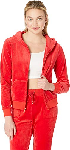 (Juicy Couture Women's Glitter Plastisol Crown Hoodie True Red Medium)