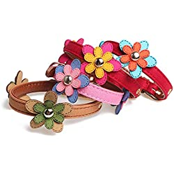 CHUANG TIANG 4 Pack Creative Adjustable Dog Collar, PU Pet Collar Patch Flower Collar Dog Ring Dog Collar