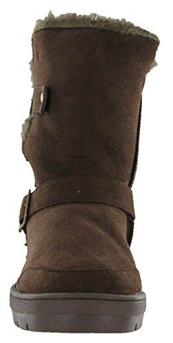 773baad3b39316 Fur Warm Ella Twin Winter Womens Lined Alex Brown Boots Flat Snugg Buckle  ...