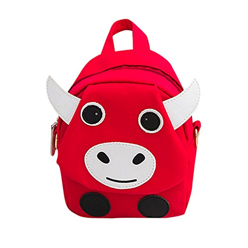 Birdfly 5 Colorful Toddler Kid Children Cute Cow Style Student School Bag  Backpack (Red)