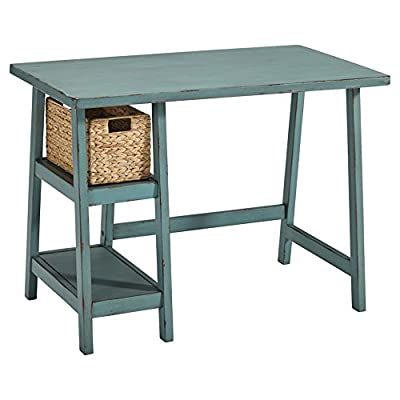 Signature Design by Ashley Mirimyn Home Office Small Desk Multi - HOME OFFICE DESK: Capture quaint character in your home with the vintage styling of this work desk. Whether you decide to use it for computer work, study time or gaming, you'll be doing it in style BEAUTIFULLY CRAFTED: Desk workstation is made of wood, veneers and engineered wood in a distressed finish. Designed with 2 fixed shelves and includes a water hyacinth basket for storage ANTIQUED TEAL: Something old, something new, something borrowed, something blue. With a timeworn, salvaged finish-complete with chipped paint-this teal desk is sure to charm your work space - writing-desks, living-room-furniture, living-room - 41V%2BqYm9OyL. SS400  -