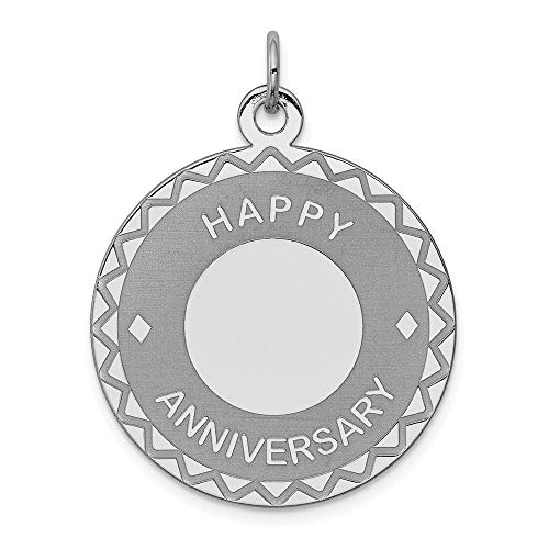 925 Sterling Silver Happy Anniversary Disc Pendant Charm Necklace Special Day Fine Jewelry Gifts For Women For Her (Happy Anniversary Disc Charm)