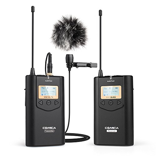 COMICA CVM-WM100 Wireless Lavalier Microphone, UHF 48 Channel Omnidirectional Lapel Mic System, 100m Long Range Transmission, Plug and Play for Canon, Nikon Panasonic, DSLR, Camcorder, Smartphone ...