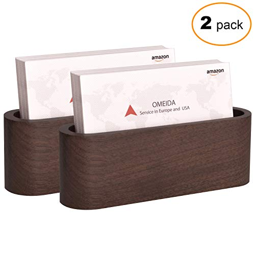 s Card Holder Card Display Walnut Wood Card Stand for Desk Desktop Name Card Holder for Tables Organizer, Fits 50 Business Cards,2 Pack ()