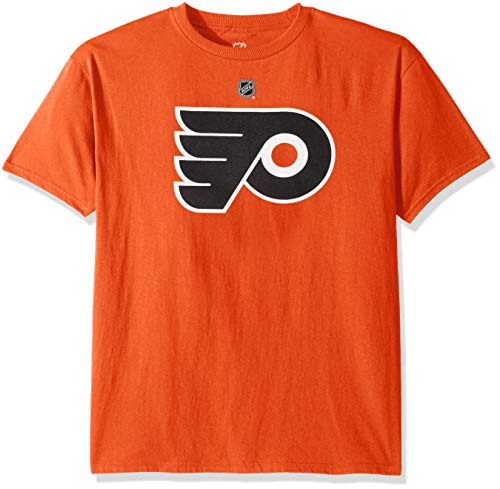 Outerstuff NHL NHL Philadelphia Flyers Kids & Youth Boys Primary Logo Basic Short Sleeve Tee, Orange, Youth Medium(10-12)