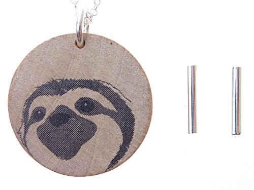Toki Wood Sloth Jewelry Pendant Necklace And Bar Earrings Set,18&Quot; With 2&Quot; Extender - Jewelry