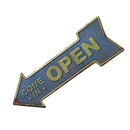 Hand Painted Pub Signs - Jili Online Arrow Shaped Hand Painted Cast Iron Metal Advertising Pointing Direction Sign Plate for Dinning Room Pub Bar Decor - Arrow Painted 3, 450160mm