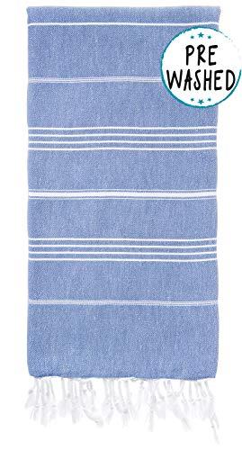 WETCAT Original Turkish Beach Towel (39 x 71) - Prewashed Peshtemal, 100% Cotton - Highly Absorbent, Quick Dry and Ultra-Soft - Washer-Safe, No Shrinkage - Stylish, Eco-Friendly - [Denim Blue] (Beach Towel Soft)