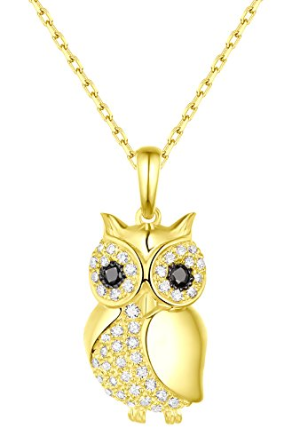 Prism Jewel G-H/SI1 0.29Ct Natural Diamond Owl Style Pendant, With Chain 14k Yellow Gold ()